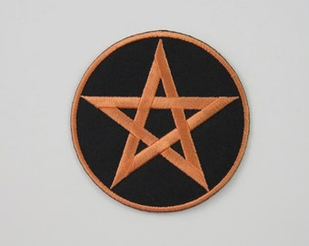Pentagram Iron On/ Sew On Embroidered Cloth Patch Badge Appliqué pentacle magic star wicca wiccan witch wizard pagan UK seller Size: 6.8cm