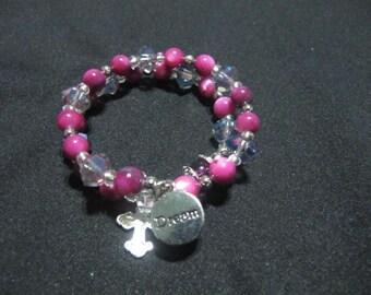Fuscia Wrap Around Rosary Bracelet with Charm and Cross