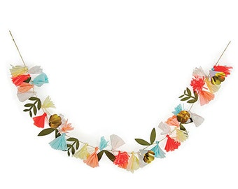 Floral Garland,Party Supplies,Bridal Shower Decor,Paper Flowers,Flower Garland,Table Centerpiece,Faux Flower Garland,Party Garland