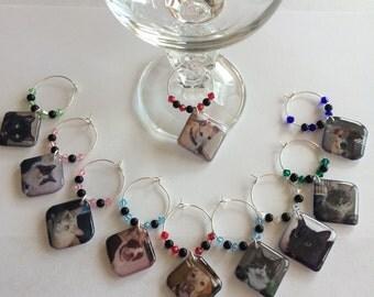 Pet Photo Wine Glass Charms - Set of 6