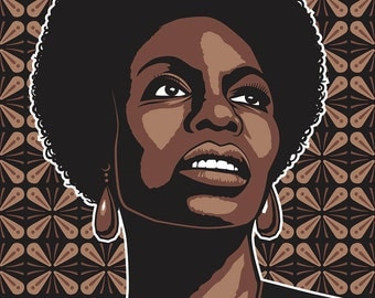 Nina Simone, poster, digital download, instant download, illustration, Jazz, Jazz singer, Blues Singer