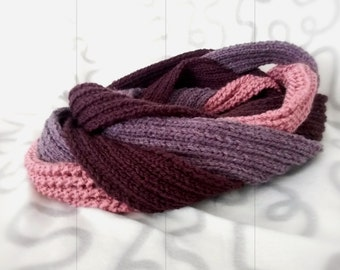 Three Elements scarf of Pink, Grey and Brown Hand Knitted Rounded Infinity Scarf