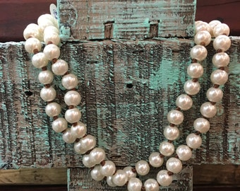 Knotted Pearl Necklace