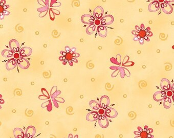 BTHY - Ariel from Quilting Treasures Tossed Flowers butterscotch, 23775-s, Designed by Robbin Rawlings, by the HALF YARD
