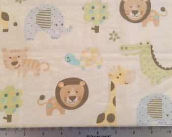 """35"""" REMNANT- Savannah and Friends Nursery Fabric by Magic Moon, Alligators, Lions, Giraffes, Trees, Turtles & Elephants, Neutral Baby Cotton"""