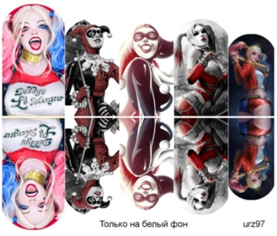 harley quinn nails full cover nail wraps nail decals nail stickers halloween from on etsy studio