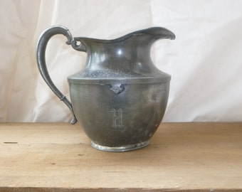 Antique Pewter Water Pitcher