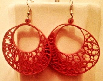 Beautiful Red quilled earrings