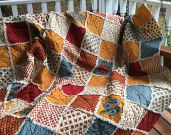 "Large size Rag Quilt ""Flower Garden"" by Moda"