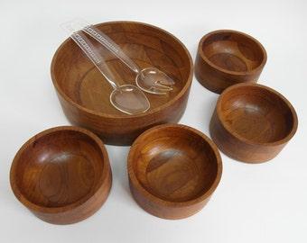 Vintage Danish Mid Century Modern Staved Teak Wooden Salad Bowl Set Mandalay