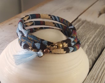 Blue Pattern Cord Wrap Bracelet with Tassel Detail and Magnet Clasp