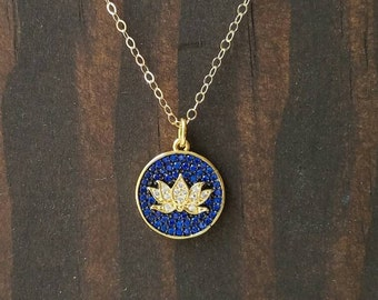 Blue Lotus Pendant in 14k Gold Filled Chain
