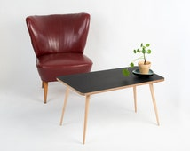 Coffee table trapezoidal Scandinavian kidney-shaped table era