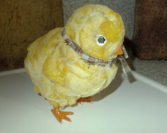 country chick, baby chick, primitive chick, fuzzy chicken, upcycled toy, yellow baby chick, primitive decor, yellow peep, large baby chick