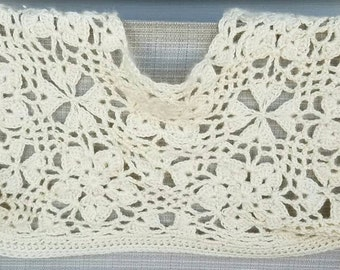 Ivory lace crocheted shrug