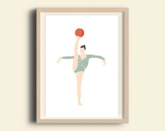 Illustration print, printable gymnastic poster, girl gymnastic, instant download printable art, olympics, girl inspirational art, girls room