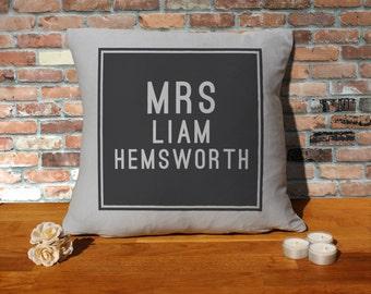 Liam Hemsworth Cushion Pillow - Silver Grey - 100% cotton - 16x16 inches