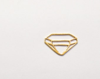 Geometric necklace, gold diamond necklace, diamond shape pendant, gold necklace, triangle necklace, unique necklace, gift for her, 18K gold