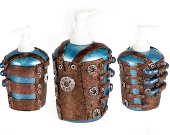 "4"" Steampunk Soap dispenser - blue"