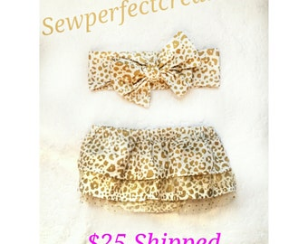 2 Piece Set, Girls White Gold Cheetah Print Bloomers Diaper Cover with Ruffles, Clothing, Baby Girl, Toddler, Headband INCLUDED