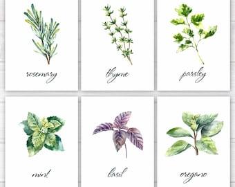 Herbs Print, Kitchen Print, Kitchen Printable, Watercolor Herbs, Botanical Printable, Kitchen Decor, Herbs Wall Art, Herbs Printable