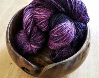"""Hand dyed DK, superwash merino/nylon blend yarn, 100g skein in """"Gothic Rose"""""""