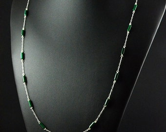 Malachite necklace, 925 sterling silver