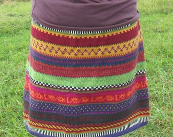 Colorful knit skirt Virpi size XL.