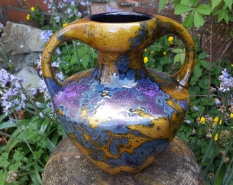 Marei: West German Fat Lava Amphora Vase in Purple and Yellow - No. 3302