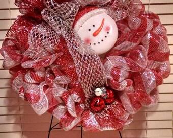 Snowman Deco Mesh Wreath