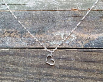 Silver Heart Necklace, Heart Necklace, Silver Pendant, FREE SHIPPING