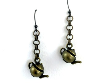 Bronze Teapot Earrings