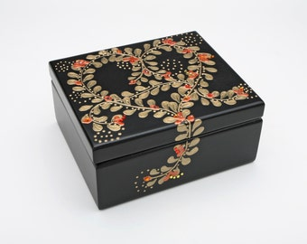 Black Wooden Copper Heart Tazo Tea Box Sampler w/ Swarovski Crystals - Teabag Storage, Tea Chest, Includes 44 Tazo Tea Bags