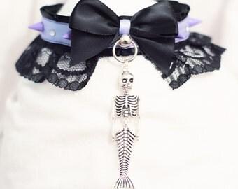 Skeleton mermaid collar