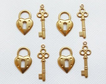 4 Pairs of Raw Brass Heart Padlocks and Key Charms