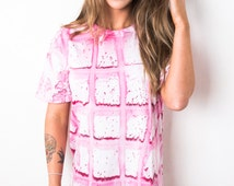 Tie Dye T-Shirt - Pink Squares Pattern Unisex (Men & Women)