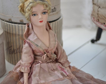 RESERVED for Su Johnson Beautiful antique French boudoir doll