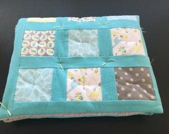 Baby Boy Flannel Patchwork Quilt - Blue & Grey