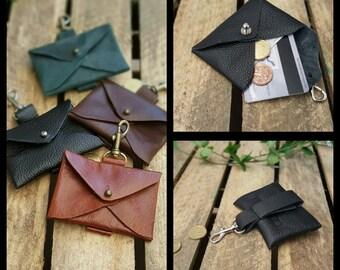Leather keychain, leather Keyring * envelope * black