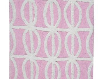 Hand Made Pink Cotton Antolyo Bath Rug/Bath Mat(80cm x 50cm),2 Piece
