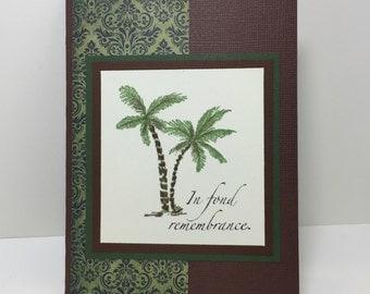 Sympathy Card - Bereavement - Palm Tree - Beach Card - Handmade