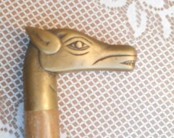 Vintage Dog/Hound Head, Brass handle wood cane.