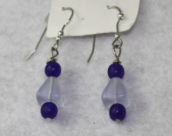Cobalt and Pale Blue Czech Glass Earrings