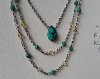 Natural Turquoise & Citrine Choker