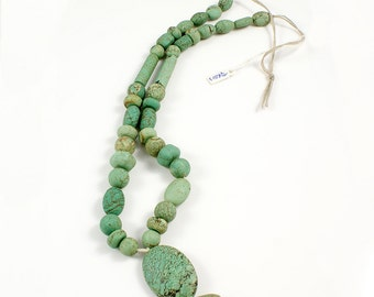 Turquoise Bead Strand from Yemen with Oval Focal Stone - TQB003