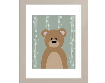 Bear Woodland Nursery Print