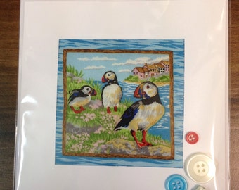 Hand Quilted Sewn Greetings Card Puffins beach sea