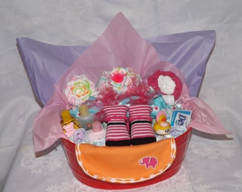 Baby gifts, Baby girl, Gift baskets, Diaper boat