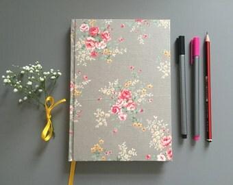 Vintage Pattern Grey Floral Print Hardback A5 Plain Notebook