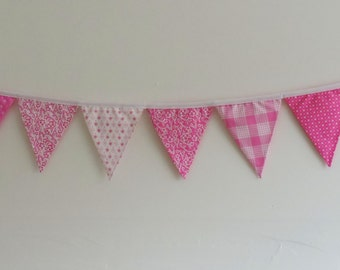 Pink and white bunting, flag bunting, photography prop, cake smash bunting, first birthday bunting photo prop